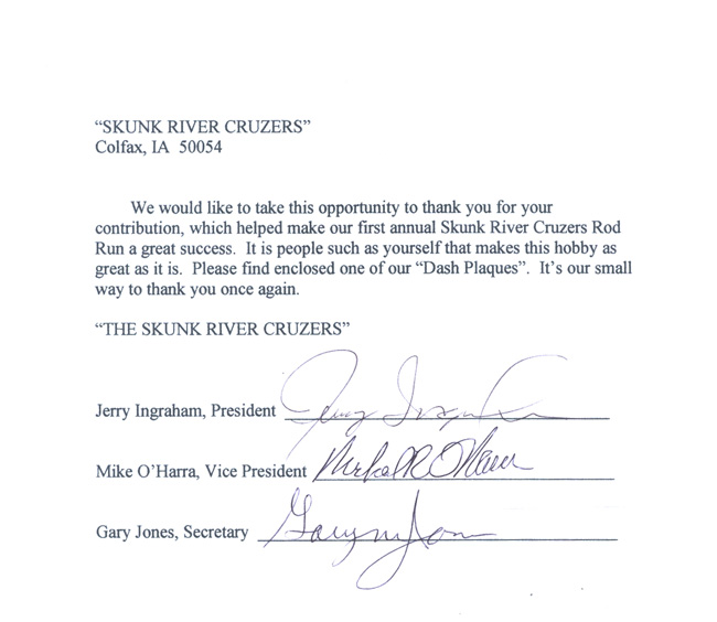 Skunk River Cruzers Letter